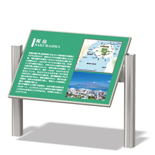 桜島を説明している傾斜のある看板