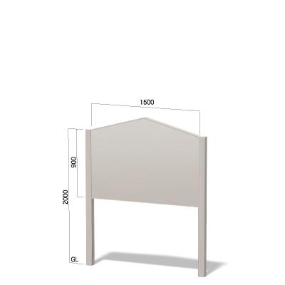 横1500㎜の高さ2000㎜の上部がペンシル形の看板