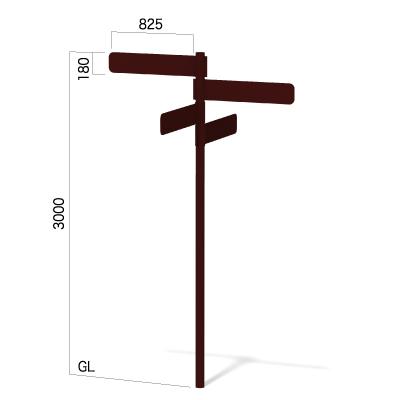 横825㎜の高さ3000㎜の4方向指示看板