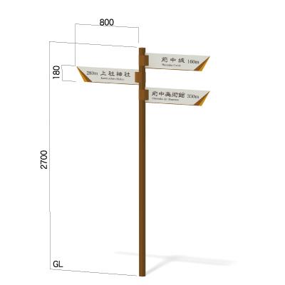 横800㎜の高さ2700㎜の3方向指示看板