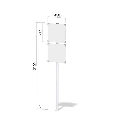450㎜正方形の面板2枚と高さ2100㎜の看板