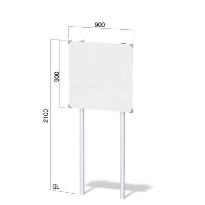 900㎜の正方形の面板に高さ2100㎜の看板