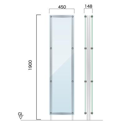 横450㎜×縦1900㎜×奥行148㎜のクリアな素材の看板