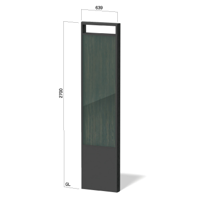 横639㎜で高さ2700㎜のディスプレイ構造の看板