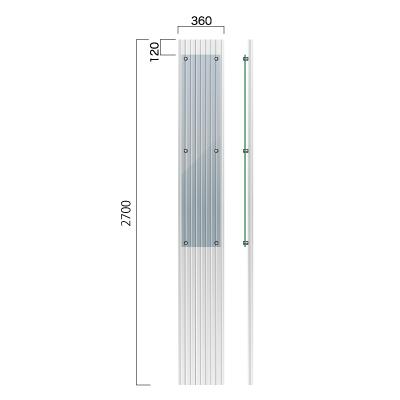 横360㎜×高さ2700㎜のガラス片面マット仕上の看板