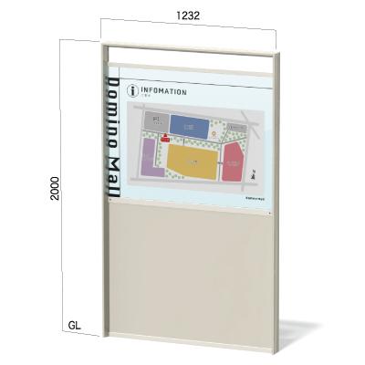 ガラス色のアクリル板を使用した地図看板