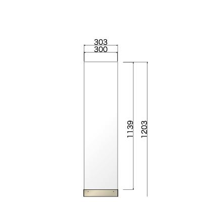 横303㎜×高さ1203㎜のホワイト色の看板