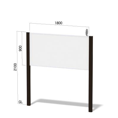 横1800㎜×高さ2100㎜のダークブロンズ色のフレームの看板
