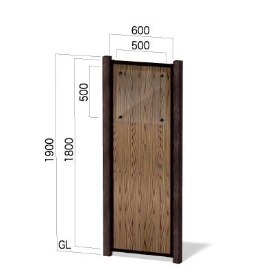 横600㎜の縦1900㎜の焼杉柄の透明アクリル板付き和風看板