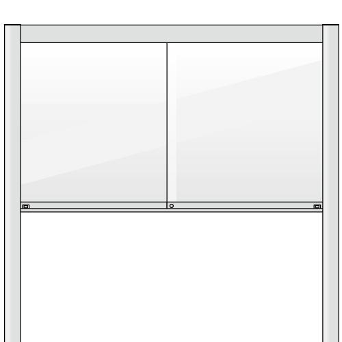 自立型の引き違いタイプのアルミ掲示板