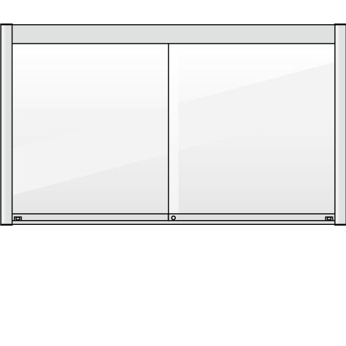 壁付の引き違いタイプのアルミ掲示板