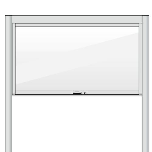 自立型の跳ね上げタイプのアルミ掲示板